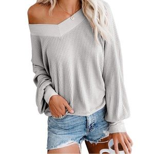 Women's V Neck Waffle Knit Pullover Sweater